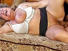 Thick grandma with giant tits gets part1