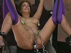 Master pulls on mature slaves bull ring nipple piercings
