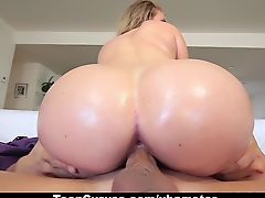 TeenCurves - Fat Booty White Girl Bounces on Oiled Up Cock