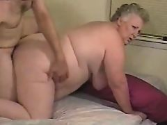 Amateur fat granny enjoys cock