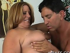 Big tittied chubby woman is performing truly great oral sex